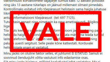 FAKTIKONTROLL | Tallinna lastehaiglas ei ole ükski laps vaktsiini tõttu surnud või pimedaks jäänud