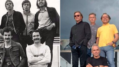 JUUSIS VAID PISUT HALLI Ruja liikmed samas kohas Linnahalli katusel 1981. ja 2017. aastal. Vasakpoolsel pildil vasakult esireas bändi kadunud laulja Urmas Alender ja basskitarrist Tiit Haagma. Tagareas vasakult kitarrist Jaanus Nõgisto, trummar Jaan Karp ja Rein Rannap, kelle pärusmaaks olid bändis klahvpillid.