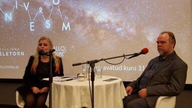 """Vaikust, saade! Tallinna Teletorni esimene kosmoseloeng ja raadiosaate """"Hallo, kosmos!"""" salvestus. Saatejuht Ingrid Peek ja astrofüüsik Laurits Leedjärv. Foto: Kosmoseveeb"""