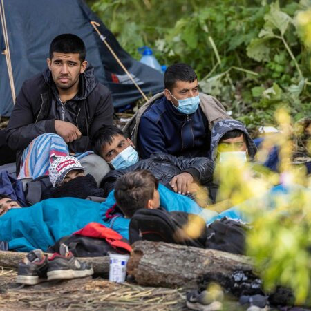 Põgenikud Valgevene-Poola piiril