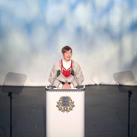President Kersti Kaljulaid traditsioonilist vabariigi aastapäeva kõne pidamas