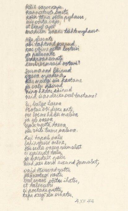 Uku Masingu enda käega kirjutatud luuletus.