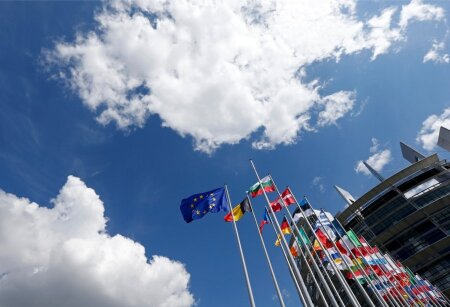 The flags of the European Union members states fly in front of the European Parliament in Strasbourg
