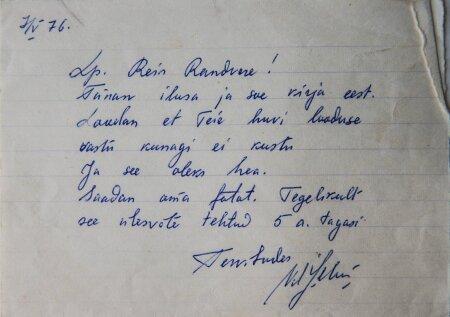 Kiri ilmatargalt autogrammiga foto juurde, käekirjanäidis