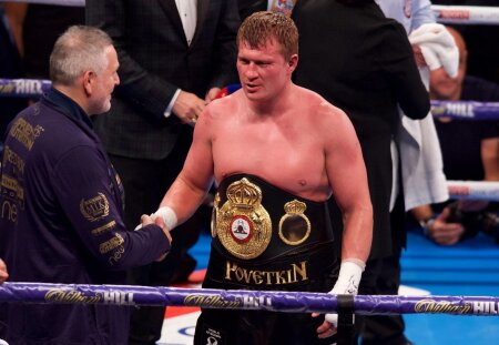 Fury v Povetkin Alexander Povetkin black gold trunks wins on points against Hughie Fury during th