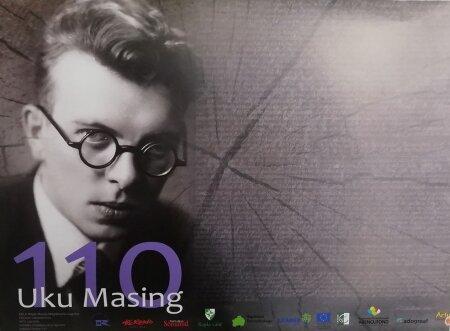 """Plakati """"Uku Masing 110"""" tegi kunstnik Loit Jõekalda."""