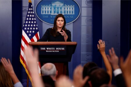 Sanders holds the daily briefing at the White House in Washington