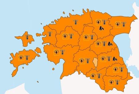 Oranž värvus tähendab teise taseme tormihoiatust - ilm on ohtlik