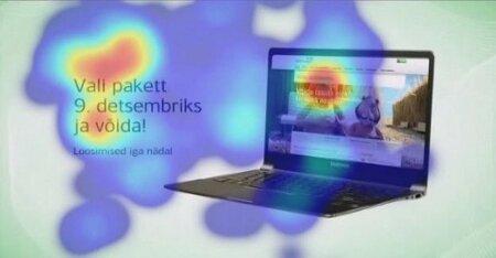 """EESTI ENERGIA REKLAAM: Uuringus osalejad aktiveerusid märksõna peale """"võida"""". Kui reklaamtekstist selgus, et võita võib vaid tasuta elektrit, taandus positiivne reaktsioon kohe. Pilguseiret uurides leiti, et reklaami vaatajad lootsid võita hoopis sülearvuti."""