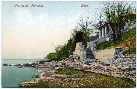 Orlovi lossi terrass, Tallinn. Orlowche Terrasse, Reval, ca 1900. a.Kirjastaja: R. von der Ley.Paberfoto, postkaart, 9 x14 cm, korras.