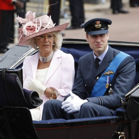 Britain's Camilla, Duchess of Cornwall and Prince William return to Buckingham Palace after attending  the Trooping the Colour ceremony in London