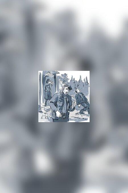 """""""PUHASTUS"""", LK 288: """"Lask. Paša surnukeha vajus trepi jalamile. Teine lask. Lavrenti lamas maas. Aliide oli tulistanud mõlemat pähe."""" (illustratsioon Leo Lätti)"""