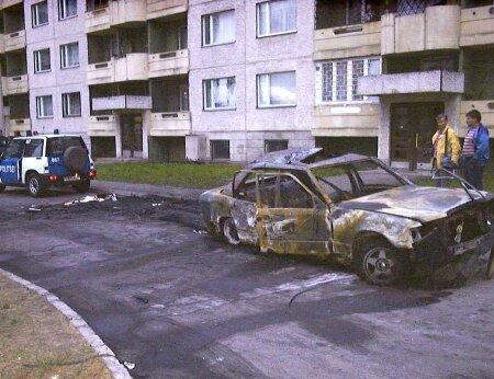 Pommiplahvatuse tagajärg: Mihhail Kõlvarti Mercedes-Benzi rusud Läänemere teel. (Kriminaalasja toimik)