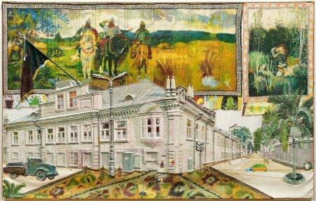 """14. Raul Rajangu, """"Kunstnik R. Rajangu ja abiliste saabumine Viljandisse"""" (1988)."""